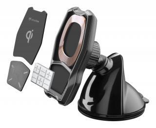 Magnetický držák s přísavkou a bezdrátovým nabíjením Cellularline MAG4 Pilot Force Wireless černá