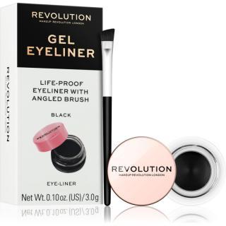 Makeup Revolution Gel Eyeliner Pot gelové oční linky se štětečkem odstín Black 3 g dámské 3 g