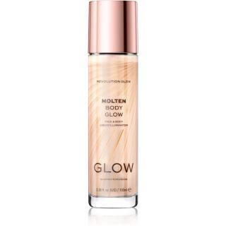 Makeup Revolution Glow Molten tekutý rozjasňovač na obličej a tělo odstín Gold 100 ml dámské 100 ml