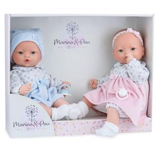 Marina & Pau 573-K Panenky dvojčátka -  miminka se zvuky a měkkým látkovým tělem