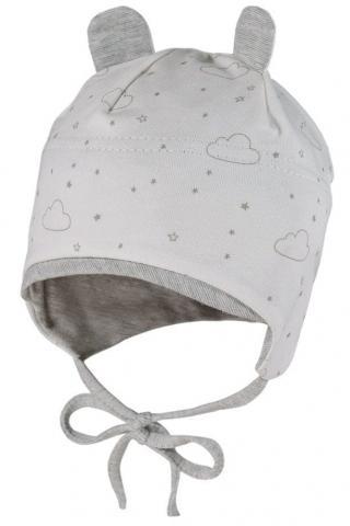 Maximo dětská čepička z organické bavlny se zavazováním 41 bílá 41