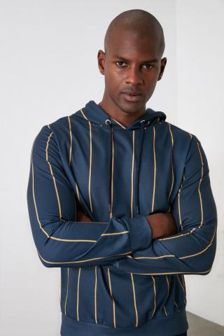 Men's hoodie Trendyol Striped pánské Navy M