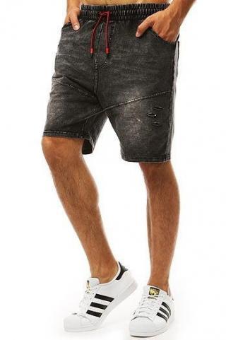Mens black denim look shorts SX0992 pánské Neurčeno M