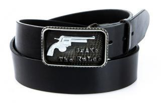 Mens black leather belt HX0035 pánské Neurčeno 105