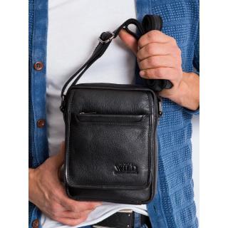Mens black leather messenger bag Other One size
