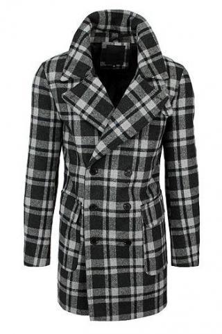 Mens gray plaid coat CX0396 pánské Neurčeno XL