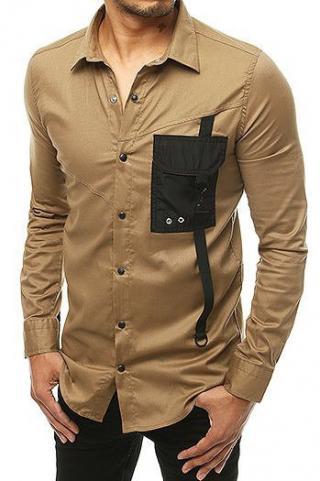 Mens long sleeve beige shirt DX1925 pánské Neurčeno S