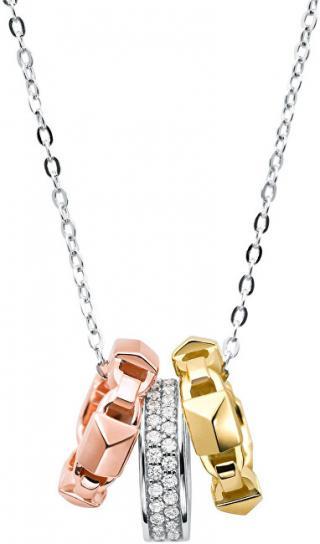Michael Kors Stříbrný náhrdelník s tricolor přívěsky MKC1142AN998