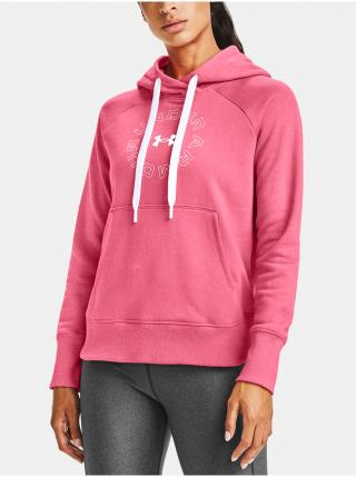 Mikina Under Armour Rival Fleece Metallic Hoodie - růžová dámské M