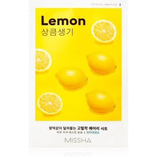 Missha Airy Fit Lemon plátýnková maska pro rozjasnění a vitalitu pleti 19 g dámské 19 g