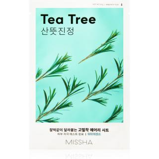 Missha Airy Fit Tea Tree plátýnková maska s čisticím a osvěžujícím účinkem pro citlivou pleť 19 g dámské 19 g
