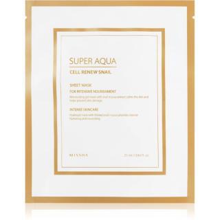 Missha Super Aqua Cell Renew Snail plátýnková maska s hydratačním a zklidňujícím účinkem s hlemýždím extraktem 25 ml dámské 25 ml