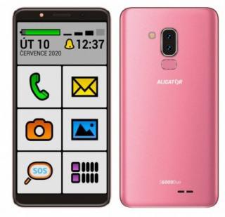 Mobilní telefon aligator s6000 senior 1gb/16gb, růžová