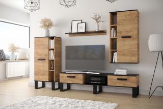 Moderní obývací stěna Garone, dub craft