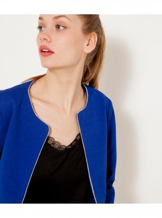 Modré dámské sako s ozdobným lemováním CAMAIEU dámské modrá L