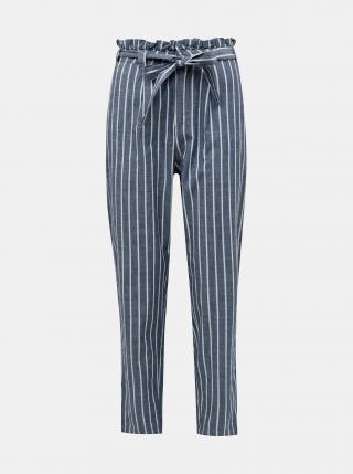 Modré pruhované kalhoty VERO MODA Emily dámské modrá XL