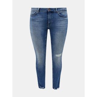 Modré slim fit džíny ONLY CARMAKOMA Tara dámské modrá 52