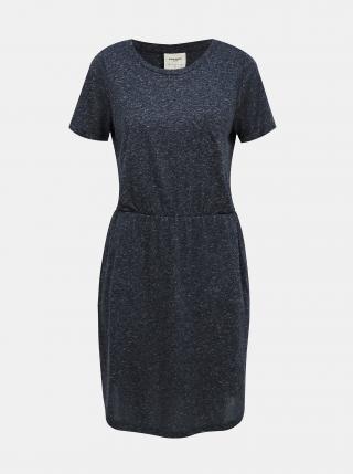 Modré žíhané basic šaty s příměsí lnu VERO MODA dámské modrá XS