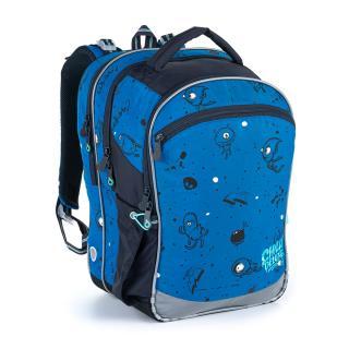 Modrý tříkomorový batoh s příšerkami na první stupeň ZŠ Topgal COCO 21017 B,Modrý tříkomorový batoh s příšerkami na první stupeň ZŠ Topgal COCO 21017 pánské 40 cm