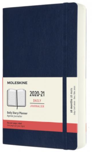 Moleskine: Diář 2020-2021 denní měkký modrý L