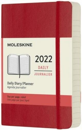 Moleskine Diář 2022 červený S, denní, měkký