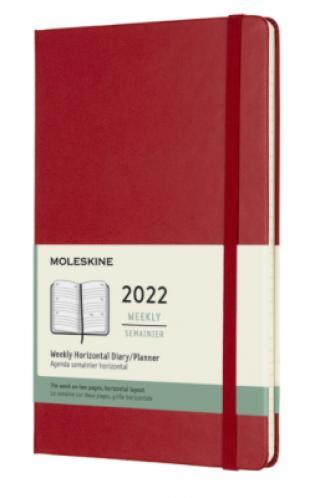 Moleskine Horizontální diář 2022 červený L, týdenní, tvrdý