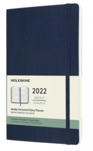 Moleskine Horizontální diář 2022 modrý L, měkký, tvrdý