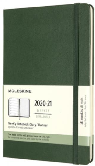 Moleskine: Plánovací zápisník 2020-2021 tvrdý zelený L