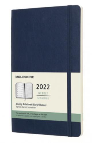 Moleskine Plánovací zápisník 2022 modrý L, měkký