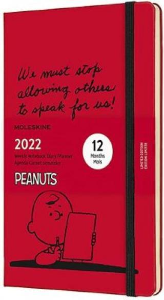 Moleskine Plánovací zápisník 2022 Snoopy červený L