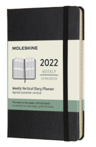 Moleskine Vertikální diář 2022 černý S, týdenní, tvrdý