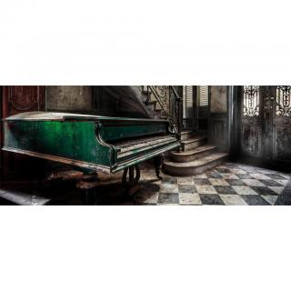 Monee OBRAZ NA SKLE, architektura, hudba, 125/50 cm, - vícebarevná 125/50