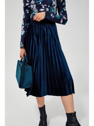 Moodo modrá sametová sukně pod kolena dámské M