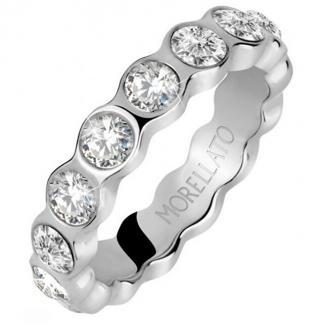 Morellato Moderní ocelový prsten s čirými krystaly Cerchi SAKM41 52 mm dámské