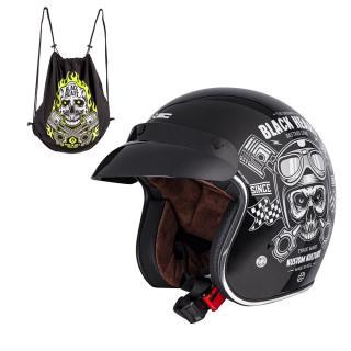 Moto Přilba W-Tec Kustom Black Heart  Skull, Černá Lesk XS