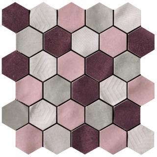 Mozaika Cir Materia Prima mix pink hexagon 27x27 cm lesk 10699221 růžová mix pink