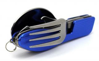 Multifunkční nerezové příbory na kempování Barva: modrá