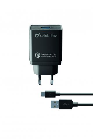 Nabíjecí set USB adaptéru a USB-C kabelu Cellularline, Qualcomm® Quick Charge™ 3.0, 18W, černá