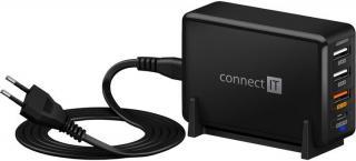 Nabíjecí stanice connect it 3xusb, 1xusb-c, qc, 65w pd, černá
