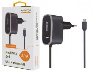 Nabíječka ALIGATOR MicroUSB s USB výst 5V/2,1A, Black