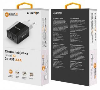 Nabíječka ALIGATOR s 2xUSB výstupem, 3.4A, smart IC, black