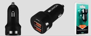 Nabíječka do auta CANYON 2xUSB, Smart IC,12V-24V, 5V-2.4A, černá