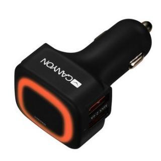 Nabíječka do auta CANYON, 4xUSB, Smart IC, LED, černá