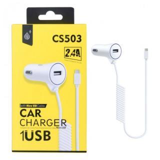 Nabíječka do auta PLUS CS503 s MicroUSB kabelem a 1x USB výstupem 2,4A, White