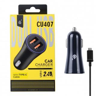 Nabíječka do auta PLUS CU407, 2xUSB výstup, Type-C kabel, 2.4A, Black