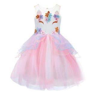 Nádherné dívčí šaty s jednorožcem - 4 barvy Barva: růžová, Velikost: 2
