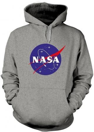 NASA Insignia Logo Hooded Sweatshirt M pánské Grey M