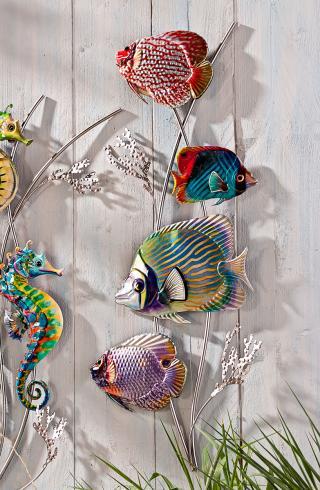 Nástěnná dekorace barevné ryby, 70 cm