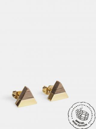 Náušnice s dřevěným detailem White Wine Gold Earrings BeWooden dámské zlatá ONE SIZE
