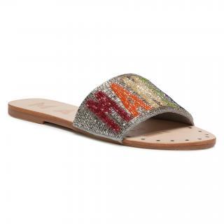 Nazouváky MANEBI - Leather Sandals S 3.9 Y0 Silver Rainbow dámské Stříbrná 35